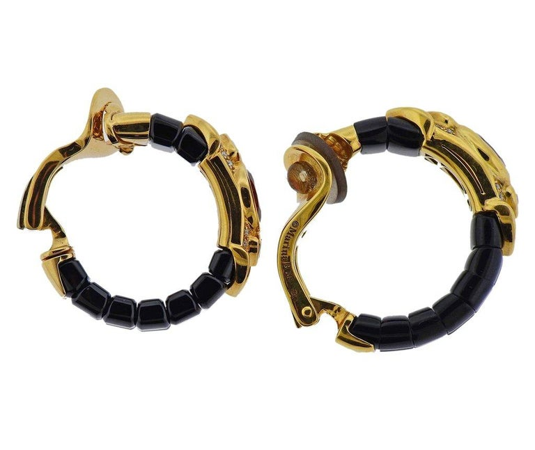 Pair of 18k gold hoop earrings by Marina B, set with black spinel, pink tourmalines, blue topaz and approx. 0.48ctw in G/VS diamonds. Weight is 29.2 grams. Marked Marina B, MB, 2220003, 750.