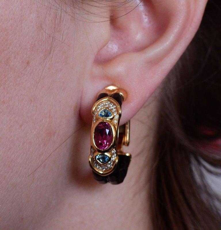 Women's or Men's Marina B Pink Tourmaline Diamond Spinel Topaz Gold Hoop Earrings For Sale
