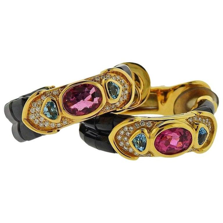 Marina B Pink Tourmaline Diamond Spinel Topaz Gold Hoop Earrings For Sale