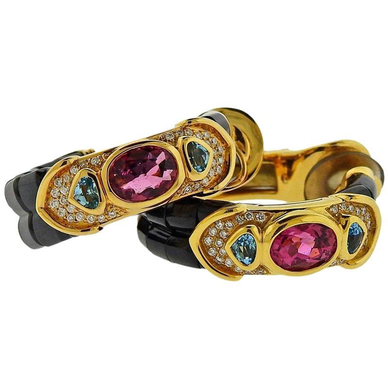 Marina B Pink Tourmaline Diamond Spinel Topaz Gold Hoop Earrings