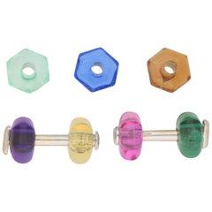 Marina B Rainbow Interchangeable Convertible Cufflinks in 18 Karat White Gold