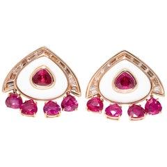 Marina B Ruby Diamond Cocholong White Opal Earclips