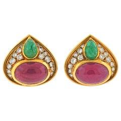 Marina B Ruby Emerald Diamond Gold Earrings