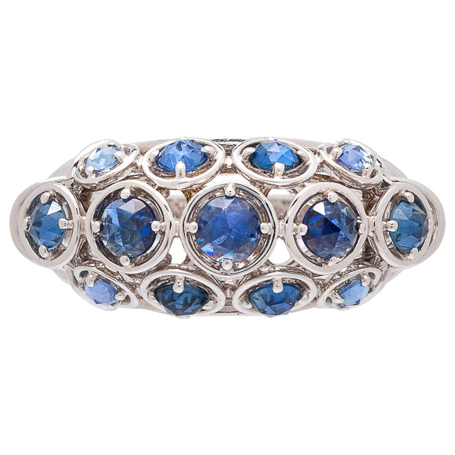 Marina B. Sapphire and 18 Karat White Gold Dome Ring