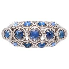 Marina B. Sapphire and 18 Karat White Gold Dome Ring