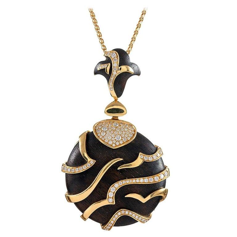 Marina B. Tiger Stripe Ebony and Diamond Pendant For Sale
