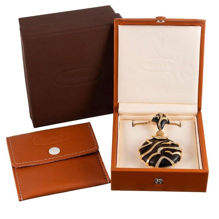 Women's Marina B. Tiger Stripe Ebony and Diamond Pendant For Sale