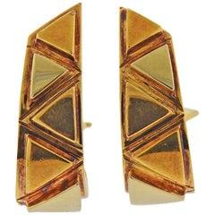 Marina B Tri Color Gold Half Hoop Earrings