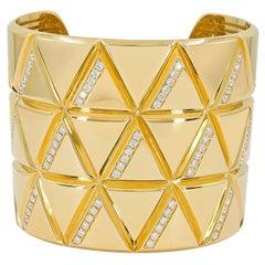 Marina B Diamond Yellow Gold Triangoli Cuff Bracelet