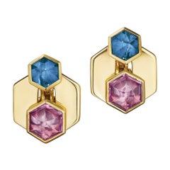 Marina B Vintage Colored Gemstone Geometric Gold Clip Earrings