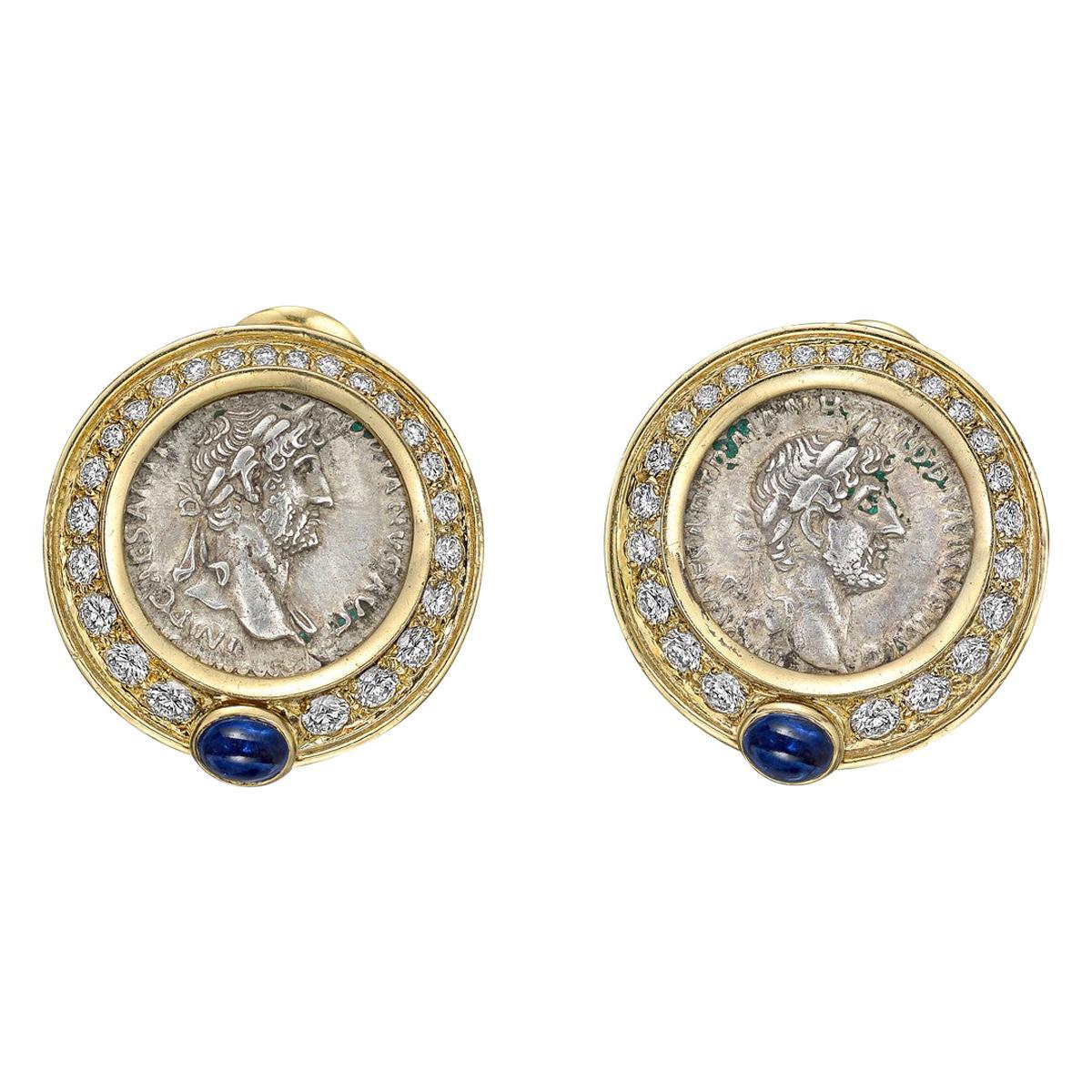 Marina B Yellow Gold, Diamond and Silver Coin Earrings
