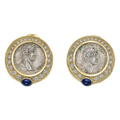 Marina B Yellow Gold, Diamond and Silver Coin Earrings