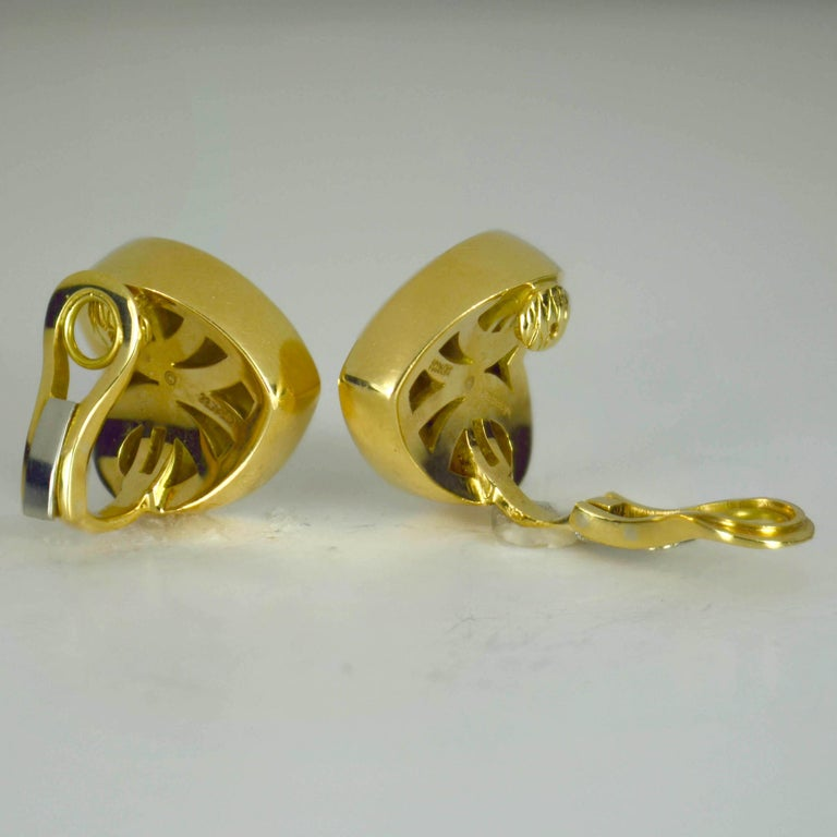 Women's Marina B Yellow Gold Heart Ear Clip Earrings For Sale