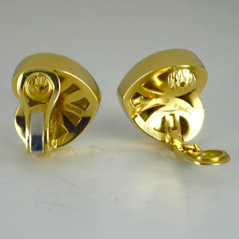 Marina B Yellow Gold Heart Ear Clip Earrings For Sale 1