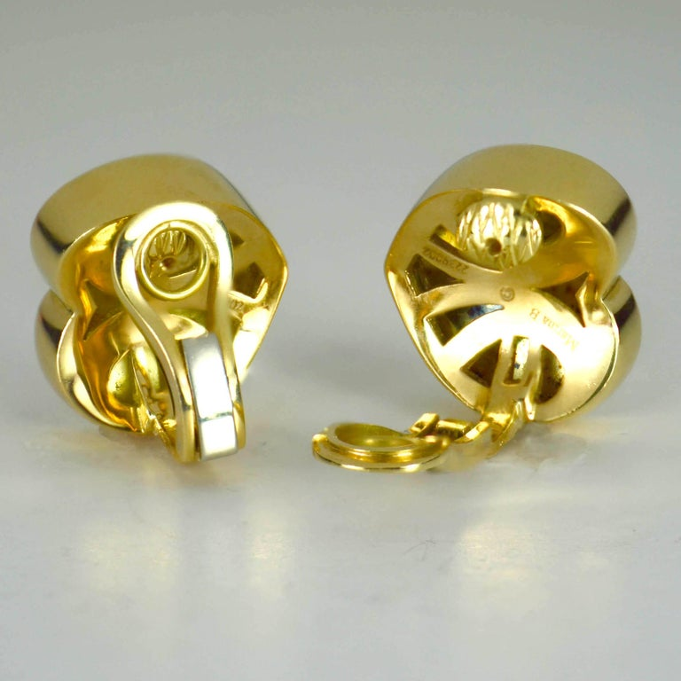 Marina B Yellow Gold Heart Ear Clip Earrings For Sale 2