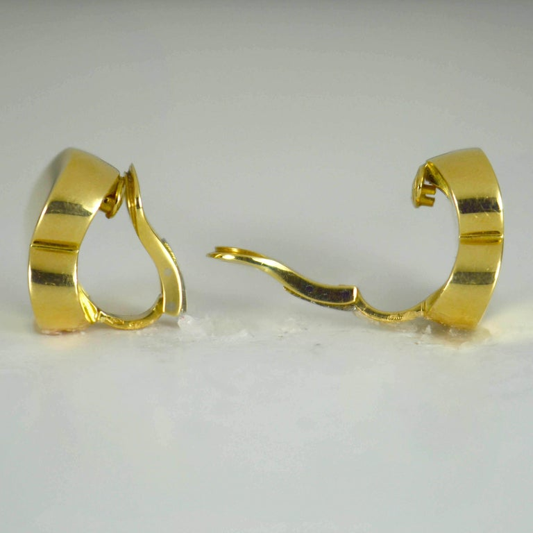 Marina B Yellow Gold Heart Ear Clip Earrings For Sale 3