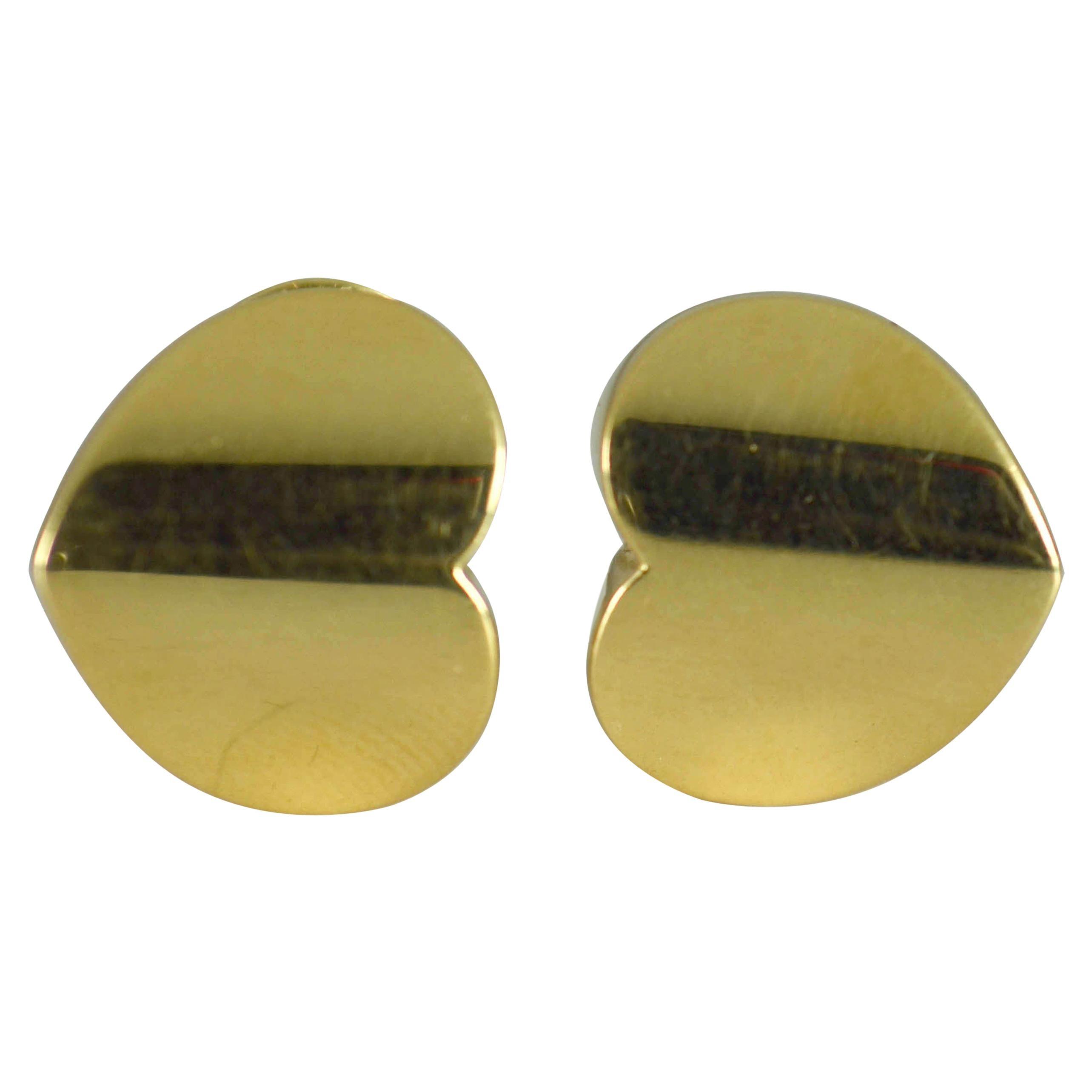 Marina B Yellow Gold Heart Ear Clip Earrings