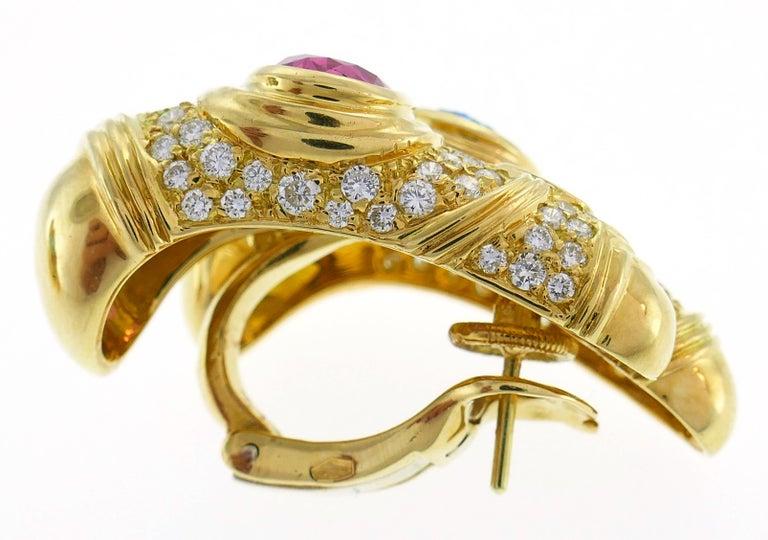 Pear Cut Marina B Yellow Gold Hoop Earrings with Blue Topaz Tourmaline Diamond, 1980s