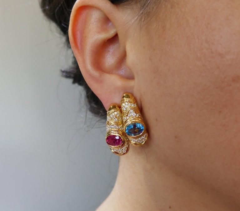 Women's Marina B Yellow Gold Hoop Earrings with Blue Topaz Tourmaline Diamond, 1980s