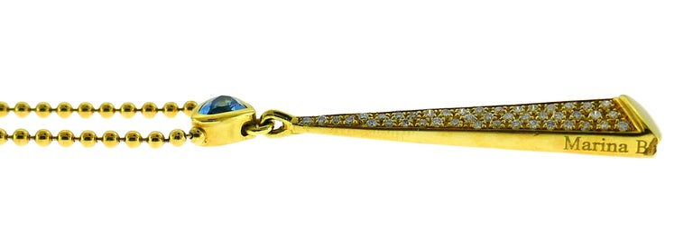 Marina B Yellow Gold Pendant Necklace with Blue Topaz and Diamond, 1980s For Sale 3