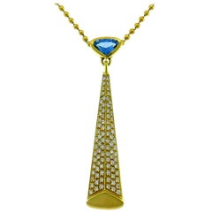 Marina B Yellow Gold Pendant Necklace with Blue Topaz and Diamond, 1980s