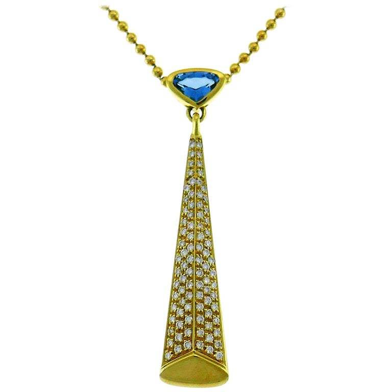 Marina B Yellow Gold Pendant Necklace with Blue Topaz and Diamond, 1980s For Sale