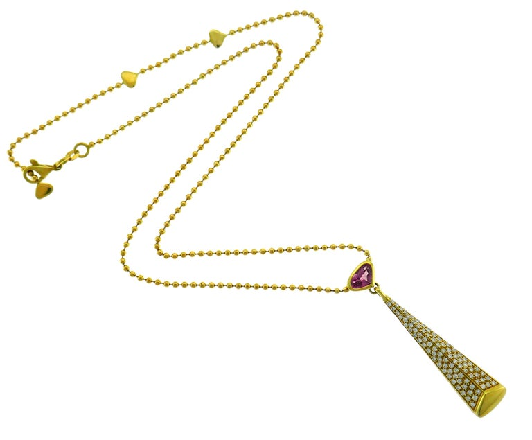 Women's Marina B Yellow Gold Pendant Necklace with Pink Tourmaline and Diamond, 1980s For Sale