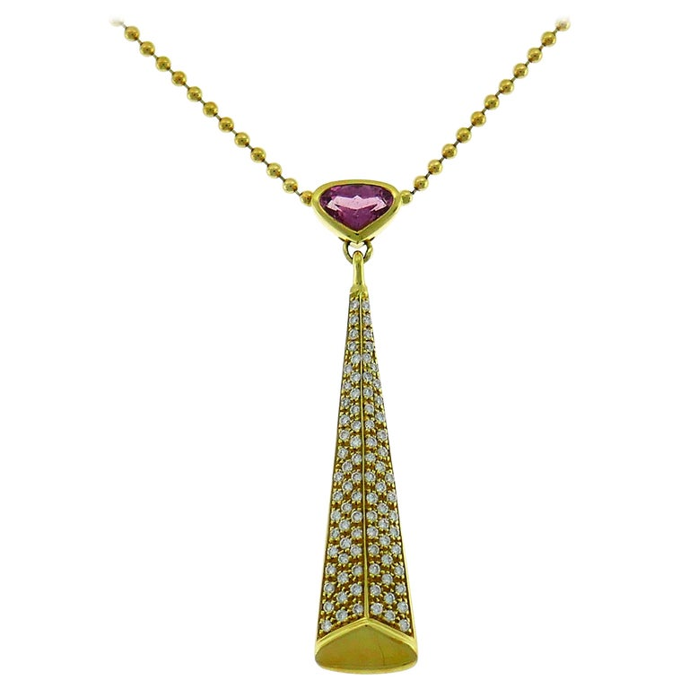 Marina B Yellow Gold Pendant Necklace with Pink Tourmaline and Diamond, 1980s For Sale