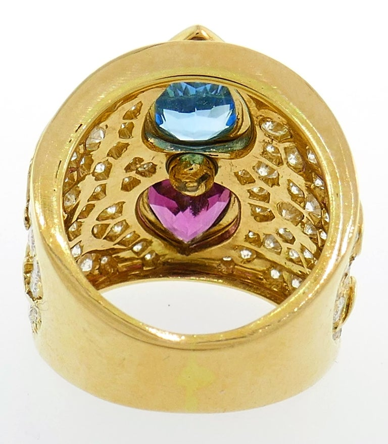 Marina B Yellow Gold Ring with Blue Topaz Tourmaline Diamond, 1980s In Excellent Condition For Sale In Beverly Hills, CA