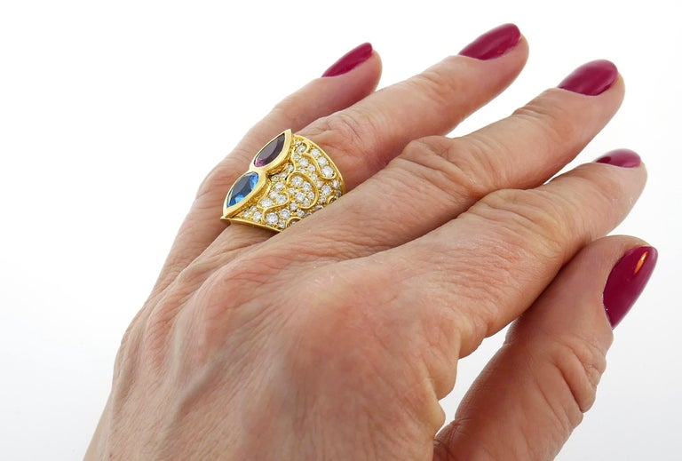 Women's Marina B Yellow Gold Ring with Blue Topaz Tourmaline Diamond, 1980s For Sale