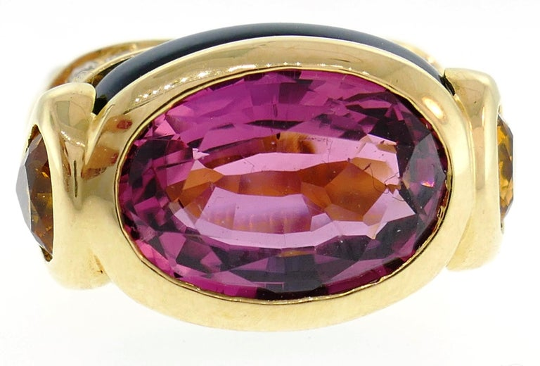 Oval Cut Marina B Yellow Gold Ring with Tourmaline Citrine and Diamond 1980s For Sale