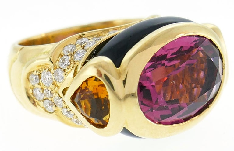 Marina B Yellow Gold Ring with Tourmaline Citrine and Diamond 1980s In Excellent Condition For Sale In Beverly Hills, CA