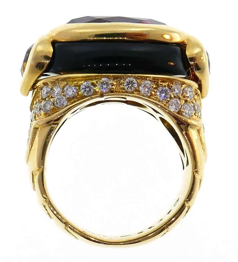 Women's Marina B Yellow Gold Ring with Tourmaline Citrine and Diamond 1980s For Sale