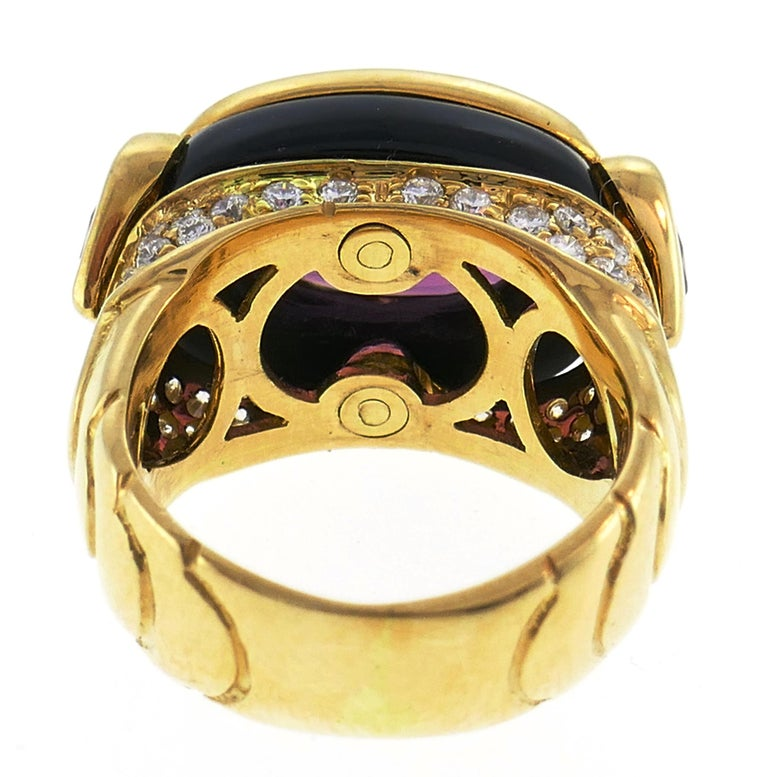 Marina B Yellow Gold Ring with Tourmaline Citrine and Diamond 1980s For Sale 1