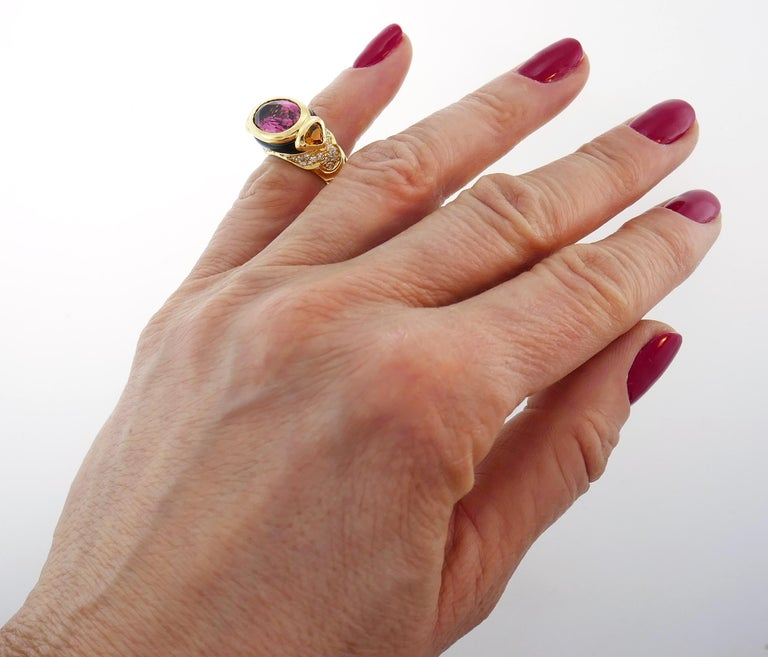 Marina B Yellow Gold Ring with Tourmaline Citrine and Diamond 1980s For Sale 3