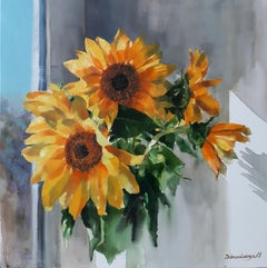Flowers For Mom - Still Life Painting Colors Grey Yellow White Green Red Orange