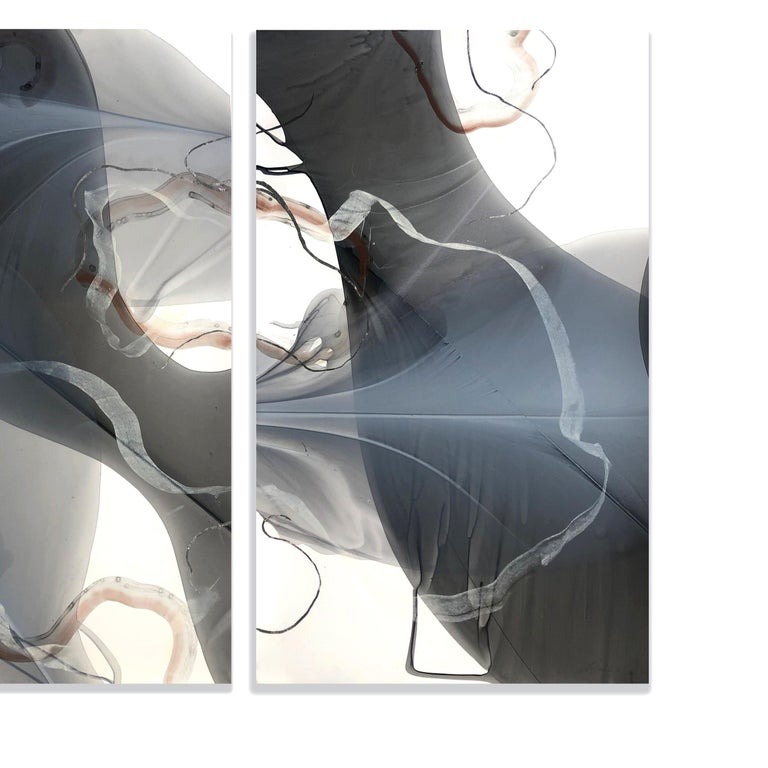 MOVEMENT STUDY IN COPPER AND SILVER - Painting by Marina Dunbar