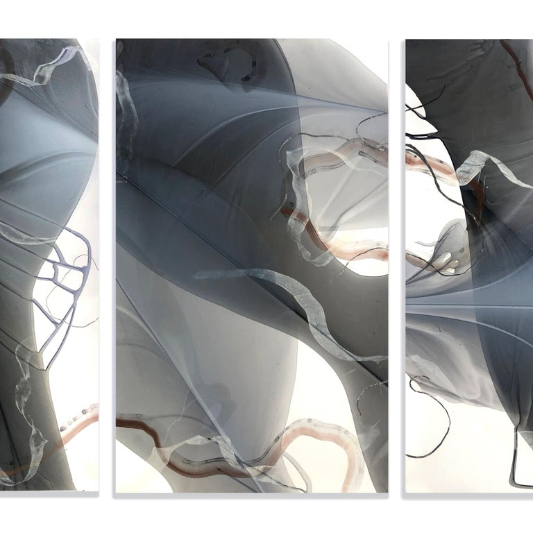 MOVEMENT STUDY IN COPPER AND SILVER - Silver Abstract Painting by Marina Dunbar