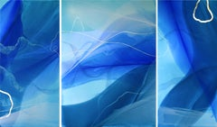 """Singing River (triptych)"" -  Large Scale Blue Abstract Painting - Paul Jenkins"
