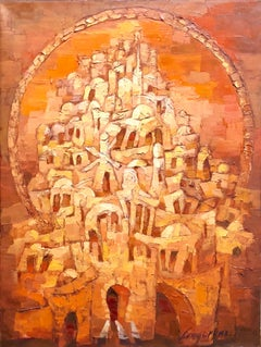 Old City Jerusalem Landscape Russian Israeli Judaica Oil Painting