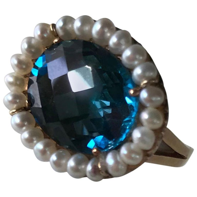 Marina J. 18 Karat Yellow Gold with London Blue Topaz Stone and Pearls Ring For Sale