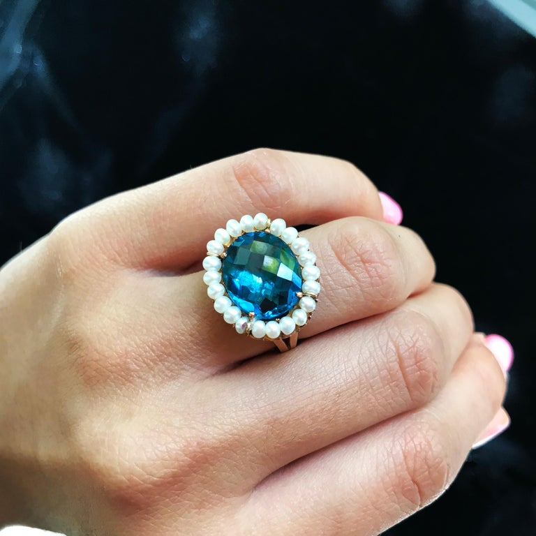 Artist Marina J. 18 Karat Yellow Gold with London Blue Topaz Stone and Pearls Ring For Sale