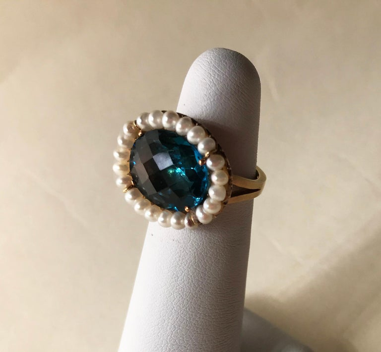 Women's Marina J. 18 Karat Yellow Gold with London Blue Topaz Stone and Pearls Ring For Sale
