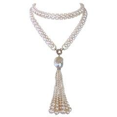 Marina J All Pearl Satuoir with Graduated Pearl Tassel & 14K White Gold
