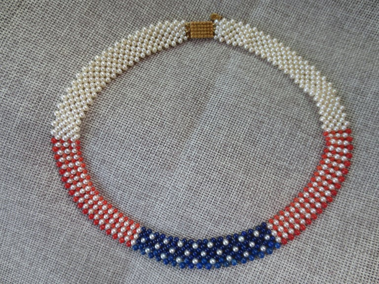 Women's Marina J. American Flag Woven Pearl, Coral, & Lapis Necklace with 14K yellow g. For Sale