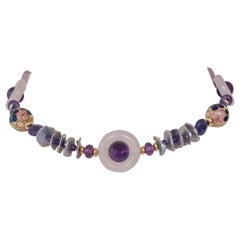 Marina J. Amethyst and Rose Quartz Necklace with Enamel Beads Pearls and Vermeil