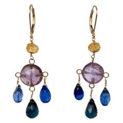 Marina J. Amethyst, Citrine, Topaz & Kyanite Chandelier Earrings with 14K Gold