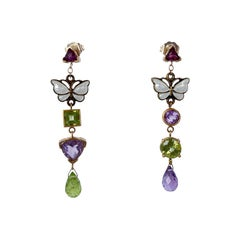 Marina J. Amethyst, Peridot and Garnet Earrings with Vintage Butterfly Enamel