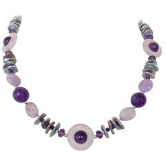 Marina J. Amethyst, Rose Quartz and Grey Pearl Necklace with Silver Clasp