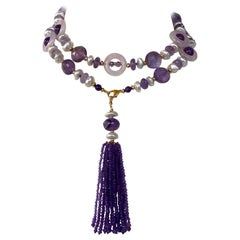 Marina J Amethyst, Rose Quartz and Pearl Long Sautoir with Tassle